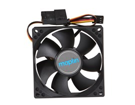Maplin 80mm Black Chassis Fan with 3Pin+4Pin Male-Female Connector