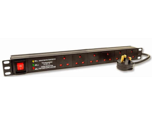 LMS Data 1U 6 Way Horizontal 13A Switch 19 inch PDU/Power Bar with Surge Protection