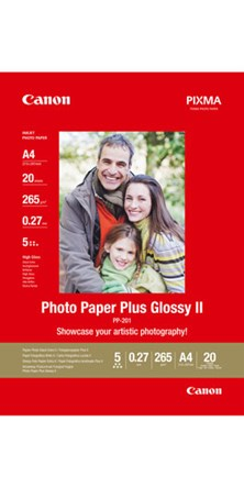 Canon PIXMA PP-201 (13cm x 18cm) 265g/m2 Plus Glossy II Photo Paper (White) 1 Pack of 20 Sheets