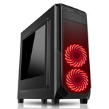 CiT Prism Mid Tower Case (Black) with 2 x RGB Front Fans & Side Window