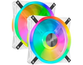Corsair iCUE QL140 RGB (140mm) White PWM Cooling Fan Kit (Pack of 2)