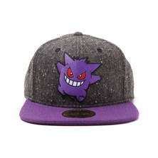 POKEMON Gengar Character Snapback Baseball Cap - One Size (Dark Grey/Purple)