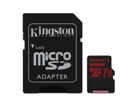 Kingston Canvas React 128GB UHS-1 (U3) & Adaptor