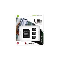 Kingston Canvas Select Plus 16GB microSDHC Memory Card Triple Pack with SD Adapter