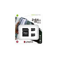 Kingston Canvas Select Plus 64GB microSDXC Memory Card Double Pack with SD Adapter