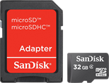 SanDisk MicroSDHC 32GB Card and SD Adapter