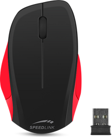 SPEEDLINK Ledgy Wireless Three Button Ergonomic PC Mouse with Nano Receiver (Black/Red)