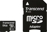 Transcend Premium 400x (64GB) MicroSDXC Flash Card UHS-I (Class 10) with Adaptor
