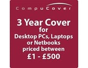 3 Year CompuCover Insurance for Desktop PCs, Laptops or Netbooks