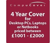 4 Year CompuCover Insurance for Desktop PCs, Laptops or Netbooks