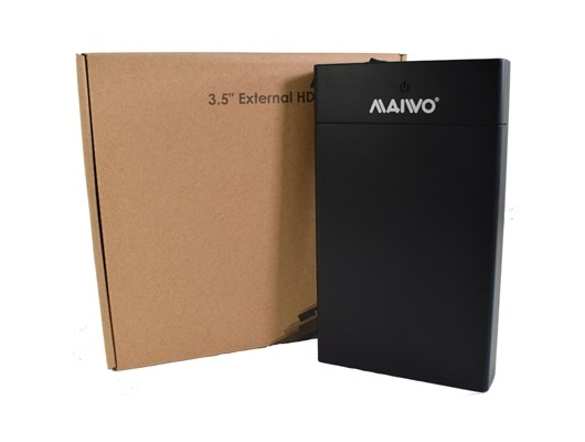 "Maiwo USB 3.0 3.5"" External Hard Drive Enclosure- Black - With Power Adapter *Open Box*"