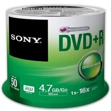 Sony DVD+R 16X SPINDLE 50 PCS .