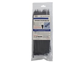 Evo Labs 100 Pack of 200 x 2.5mm Black Retail Packaged Cable Ties