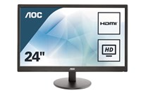 AOC E2470SWHE 23.6 inch LED Monitor - Full HD 1080p, 5ms, HDMI