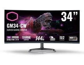 "Cooler Master GM34-CW 34"" UWQHD VA Curved Monitor"