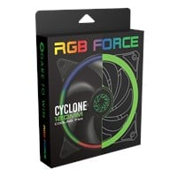 GameMax Cyclone Dual Ring RGB Fan 4 pin Header 3 Pin Power Black Gloss