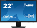 Iiyama ProLite E2283HS (21.5 inch) LED Backlit LCD Monitor 1000:1 250cd/m2 (1920 x1080) 2ms VGA/DVI/HDMI/Headphone (Black)