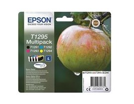Epson Apple T1295 4 Colour Multipack Ink Cartridges Black, Cyan, Magenta, Yellow (Retail Packed, Untagged) for BX305F/BX320FW/BX525WD/BX625FWD/SX420W