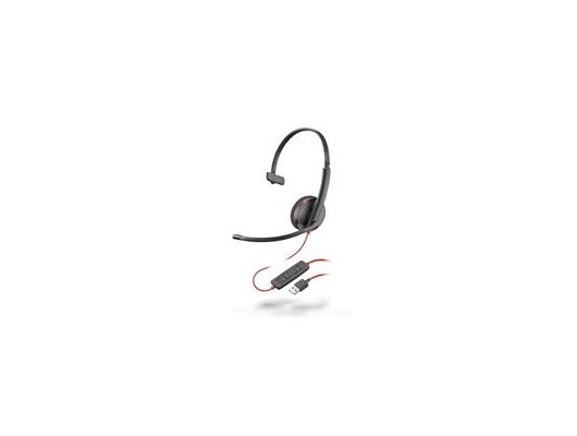 Plantronics Blackwire 3210 USB-A Corded UC Monaural Headset (Black) with Microphone