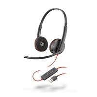 Plantronics Blackwire 3220 USB-A Corded UC Dual Stereo Headset (Black) with Microphone *Open Box*