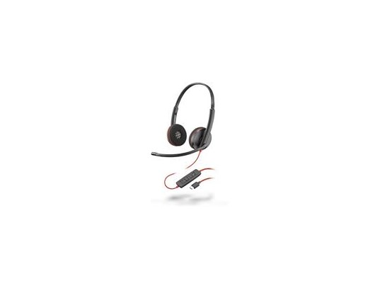 Plantronics Blackwire 3220 USB-C Corded UC Stereo Headset (Black) with Microphone